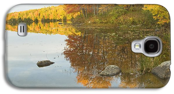 Trees Reflecting In Water Galaxy S4 Cases - Fall colors on Taylor Pond Mount Vernon Maine Galaxy S4 Case by Keith Webber Jr