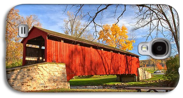 Conestoga Galaxy S4 Cases - Fall Foliage At The Poole Forge Covered Bridge Galaxy S4 Case by Adam Jewell