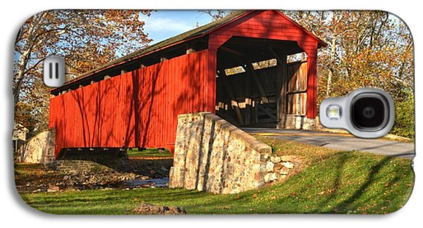 Conestoga Galaxy S4 Cases - Fall Foliage Poole Forge Covered Bridge Galaxy S4 Case by Adam Jewell