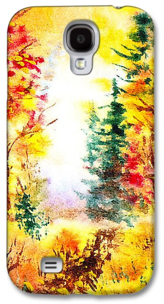 Maple Season Paintings Galaxy S4 Cases - Fall Forest Galaxy S4 Case by Irina Sztukowski