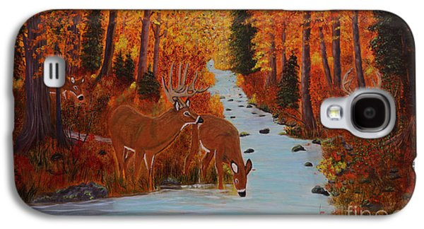 Etc. Paintings Galaxy S4 Cases - Fall Forest with Deer Galaxy S4 Case by Myrna Walsh