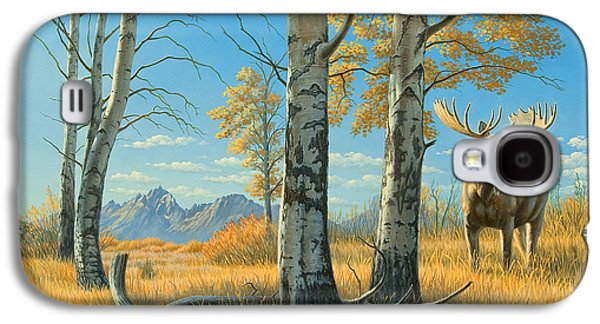 National Park Paintings Galaxy S4 Cases - Fall Landscape - Moose Galaxy S4 Case by Paul Krapf