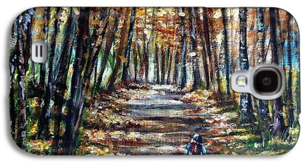 Maine Roads Paintings Galaxy S4 Cases - Fall Ride Galaxy S4 Case by Shana Rowe