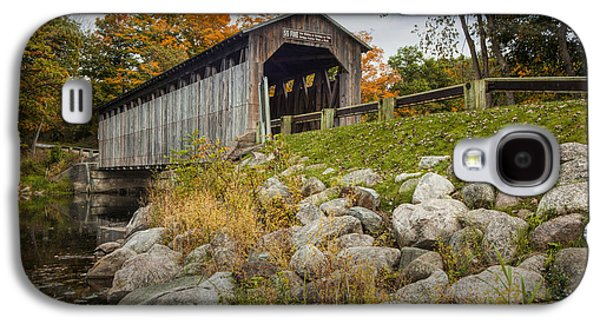 Old Roadway Galaxy S4 Cases - Fallasburg Covered Bridge on the Flat River Galaxy S4 Case by Randall Nyhof
