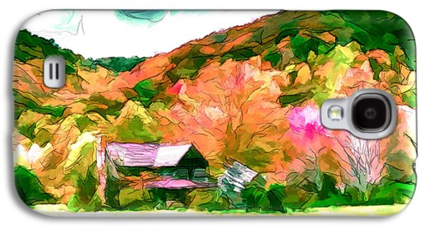 Shed Drawings Galaxy S4 Cases - Falling Farm Blended Art Styles Galaxy S4 Case by John Haldane