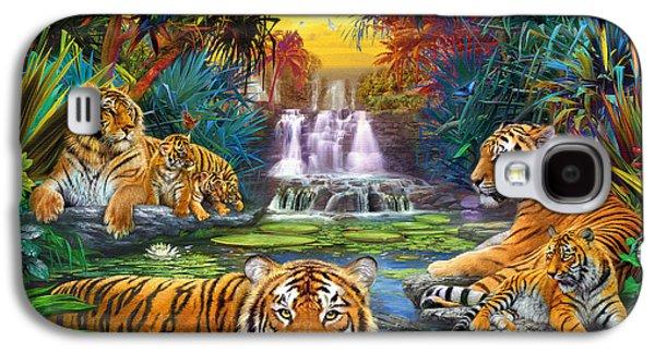 Botanical Galaxy S4 Cases - Family at the Jungle Pool Galaxy S4 Case by Jan Patrik Krasny