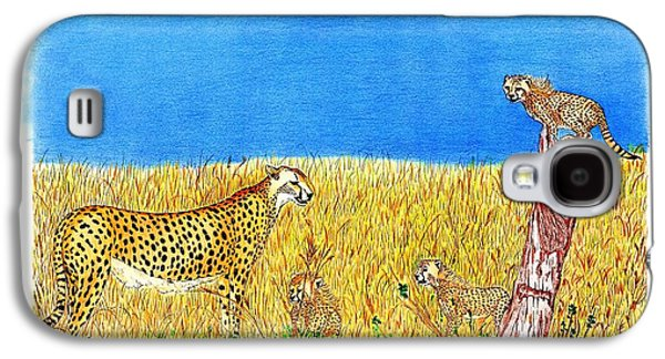 Cheetah Drawings Galaxy S4 Cases - Family Fun Time Galaxy S4 Case by Kenny McClellan