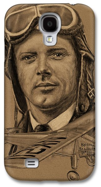 Duo Tone Galaxy S4 Cases - Famous Aviators Charles Lindbergh Galaxy S4 Case by Dale Jackson