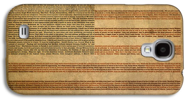 American Galaxy S4 Cases - Famous Patriotic Quotes American Flag Word Art Galaxy S4 Case by Design Turnpike