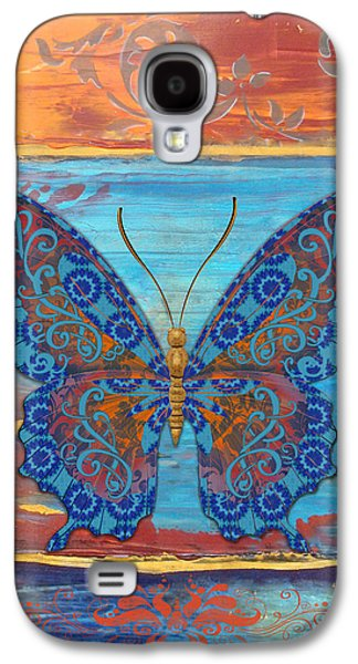 Abstract Digital Paintings Galaxy S4 Cases - Fanciful Blue Butterfly Galaxy S4 Case by Jean PLout
