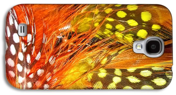 Yellow Jewelry Galaxy S4 Cases - Fancy Feathers Galaxy S4 Case by Catherine Ratliff