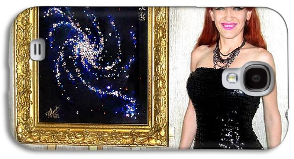 Spiral Jewelry Galaxy S4 Cases - Space galaxy painting with swarovski crystals. Sofia Metal Queen / Sofia Goldberg Galaxy S4 Case by Sofia Metal Queen