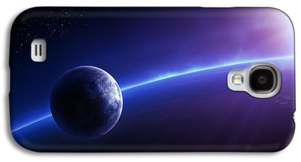 Earth Galaxy S4 Cases - Fantasy Earth and Moon with colourful  sunrise Galaxy S4 Case by Johan Swanepoel