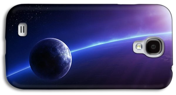 Sunset Abstract Digital Galaxy S4 Cases - Fantasy Earth and Moon with colourful  sunrise Galaxy S4 Case by Johan Swanepoel