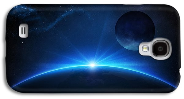 Sunbeams Galaxy S4 Cases - Fantasy Earth and Moon with sunrise Galaxy S4 Case by Johan Swanepoel