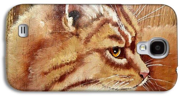 Orange Tabby Paintings Galaxy S4 Cases - Farm Cat on Rustic wood Galaxy S4 Case by Debbie LaFrance