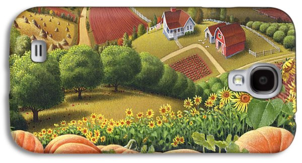 Autumn Landscape Galaxy S4 Cases - Farm Landscape - Autumn Rural Country Pumpkins Folk Art - Appalachian Americana - Fall Pumpkin Patch Galaxy S4 Case by Walt Curlee