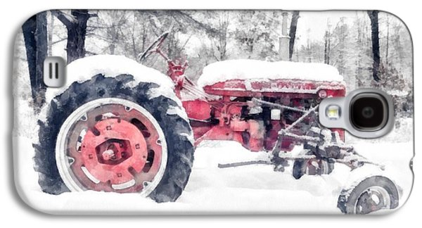 New England Barns Galaxy S4 Cases - Farmall Super C Tractor in Winter Watercolor Galaxy S4 Case by Edward Fielding