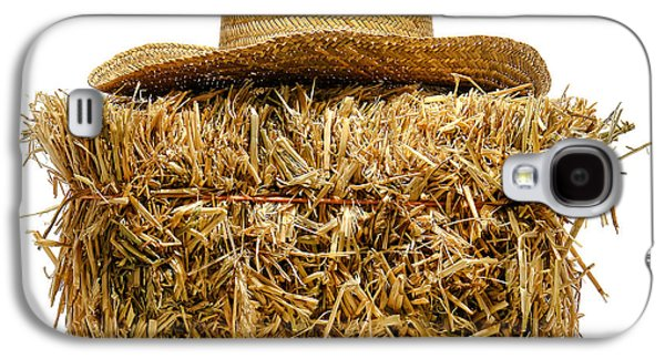 Bale Galaxy S4 Cases - Farmer Hat on Hay Bale Galaxy S4 Case by Olivier Le Queinec