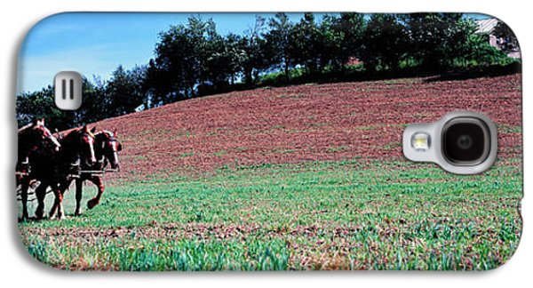 Farmer Plowing Field With Horses, Amish Galaxy S4 Case by Panoramic Images