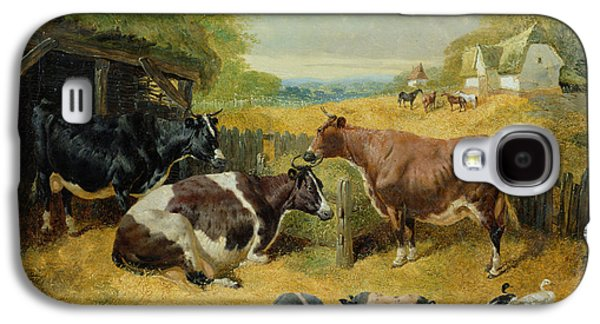 Sheds Galaxy S4 Cases - Farmyard Scene, 1853 Oil On Canvas Galaxy S4 Case by John Frederick Herring Snr