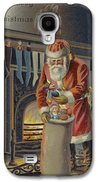 Nicholas Galaxy S4 Cases - Father Christmas Filling Childrens Stockings Galaxy S4 Case by English School
