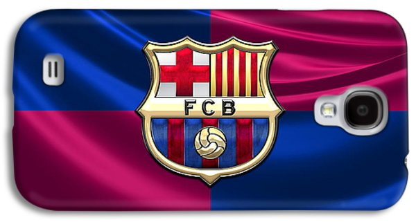 Crest Digital Art Galaxy S4 Cases - FC Barcelona - 3D Badge over Flag Galaxy S4 Case by Serge Averbukh