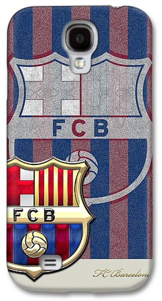 Crest Digital Art Galaxy S4 Cases - FC Barcelona Logo and 3D Badge Galaxy S4 Case by Serge Averbukh