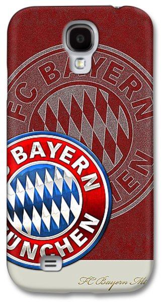 Crest Digital Art Galaxy S4 Cases - FC Bayern Munich Logo and 3D Badge Galaxy S4 Case by Serge Averbukh
