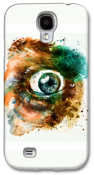 Emotion Mixed Media Galaxy S4 Cases - Fear Eye watercolor Galaxy S4 Case by Marian Voicu