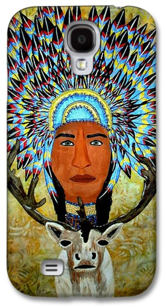 African-americans Tapestries - Textiles Galaxy S4 Cases - Feathers and Antlers Galaxy S4 Case by Linda Egland