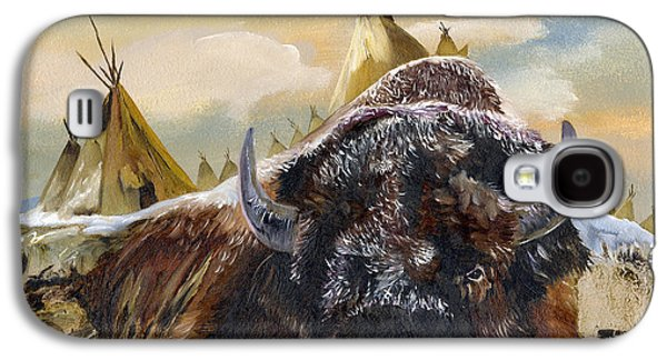 Bison Mixed Media Galaxy S4 Cases - Feed the Fire Galaxy S4 Case by J W Baker
