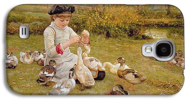 Girl Galaxy S4 Cases - Feeding The Ducks Galaxy S4 Case by Edward Killingworth Johnson