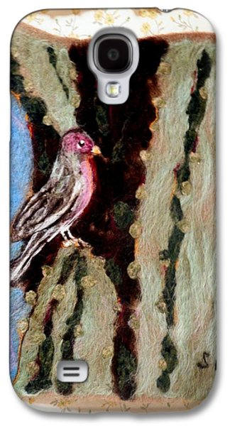 Universities Tapestries - Textiles Galaxy S4 Cases - Felted Finch Galaxy S4 Case by Selma Glunn
