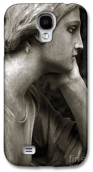 Statue Portrait Galaxy S4 Cases - Female Angel Face Closeup - Female Angelic Face Portrait Galaxy S4 Case by Kathy Fornal