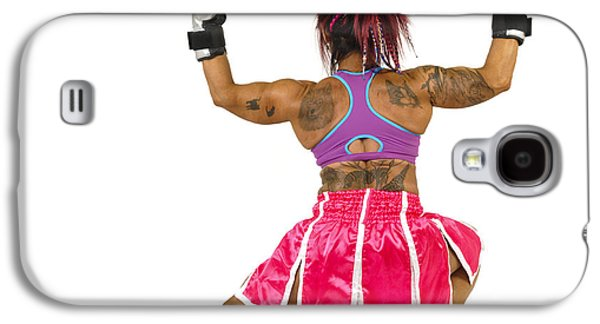 Sports Photographs Galaxy S4 Cases - Female boxer flexes her muscles  Galaxy S4 Case by Ilan Rosen