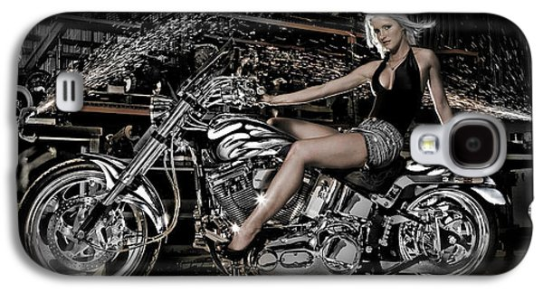 Production Line Galaxy S4 Cases - Female Model With A Motorcycle Galaxy S4 Case by Panoramic Images