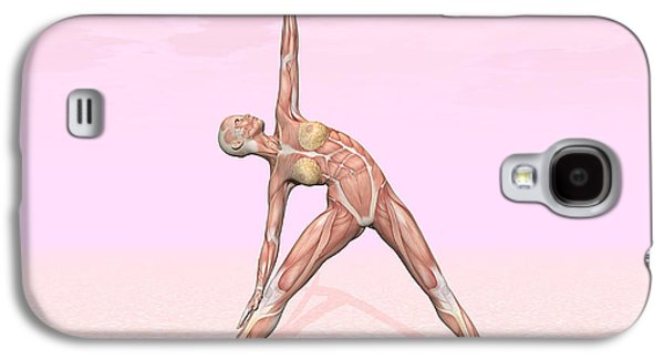 Concentration Digital Galaxy S4 Cases - Female Musculature Performing Triangle Galaxy S4 Case by Elena Duvernay