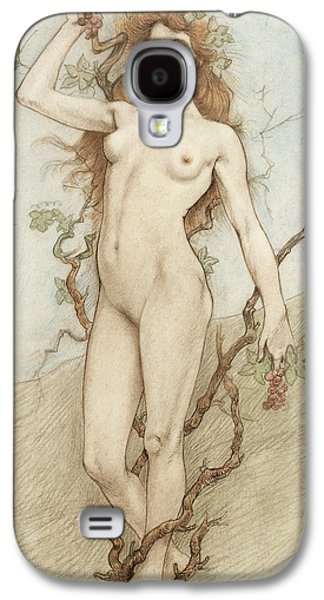 Nudes Drawings Galaxy S4 Cases - Female nude with grapes Galaxy S4 Case by Armand Rassenfosse