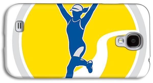 Female Triathlete Marathon Runner Retro Galaxy S4 Case by Aloysius Patrimonio