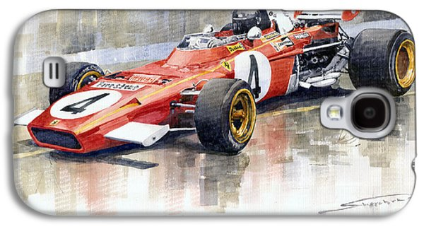 Watercolor Paintings Galaxy S4 Cases - Ferrari 312 B2 1971 Monaco GP F1 Jacky Ickx Galaxy S4 Case by Yuriy  Shevchuk
