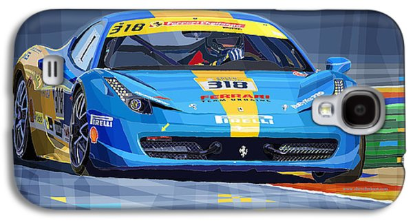Realism Mixed Media Galaxy S4 Cases - Ferrari 458 Challenge Team Ukraine 2012 Galaxy S4 Case by Yuriy  Shevchuk