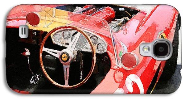 Old Mixed Media Galaxy S4 Cases - Ferrari Cockpit Monterey Watercolor Galaxy S4 Case by Naxart Studio