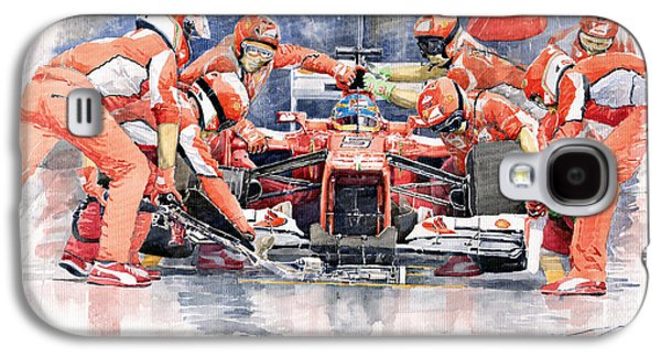 Automotive Galaxy S4 Cases - Ferrari F 2012 Fernando Alonso Pit Stop Galaxy S4 Case by Yuriy  Shevchuk