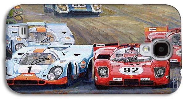 Legend Paintings Galaxy S4 Cases - Ferrari vs Porsche 1970 Watkins Glen 6 Hours Galaxy S4 Case by Yuriy  Shevchuk