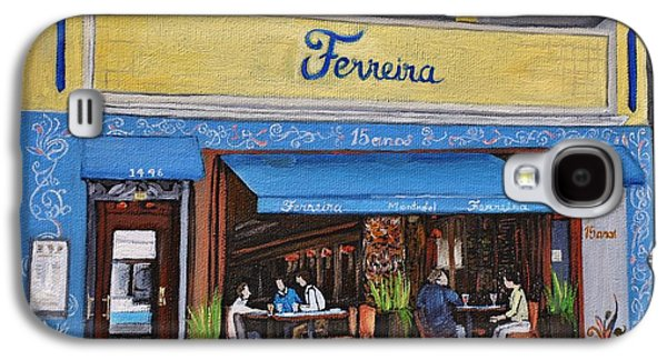 Quebec Streets Paintings Galaxy S4 Cases - Ferreira Cafe  Galaxy S4 Case by Reb Frost