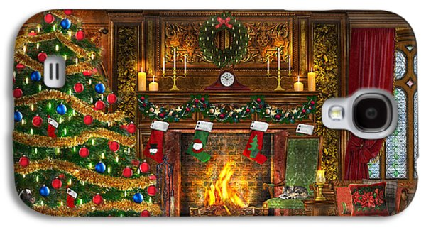 Dogs Digital Art Galaxy S4 Cases - Festive Fireplace Galaxy S4 Case by Dominic Davison