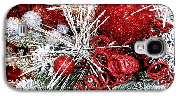 Cheer On Galaxy S4 Cases - Festive Red and White Galaxy S4 Case by Janine Riley