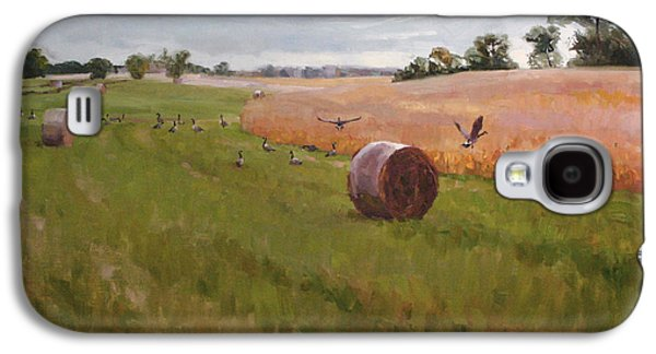 Haybales Paintings Galaxy S4 Cases - Field Day Galaxy S4 Case by Scott Harding