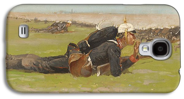 Past Paintings Galaxy S4 Cases - Field Drill for the Prussian Infantry  Galaxy S4 Case by Frederic Remington